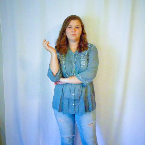Blue and Grey Cotton Tunic