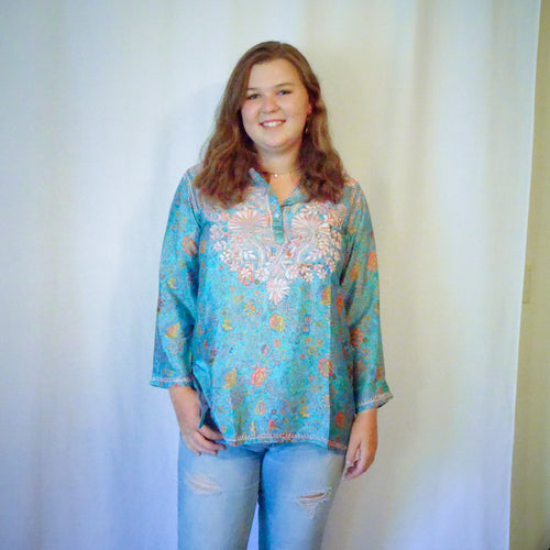 Blue and Pink Silk Tunic