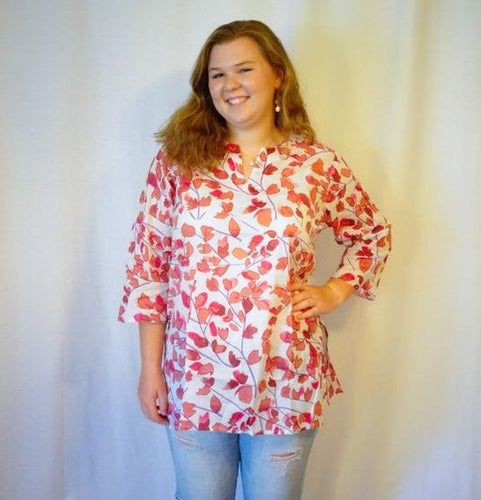 Pink Leaf Cotton Tunic