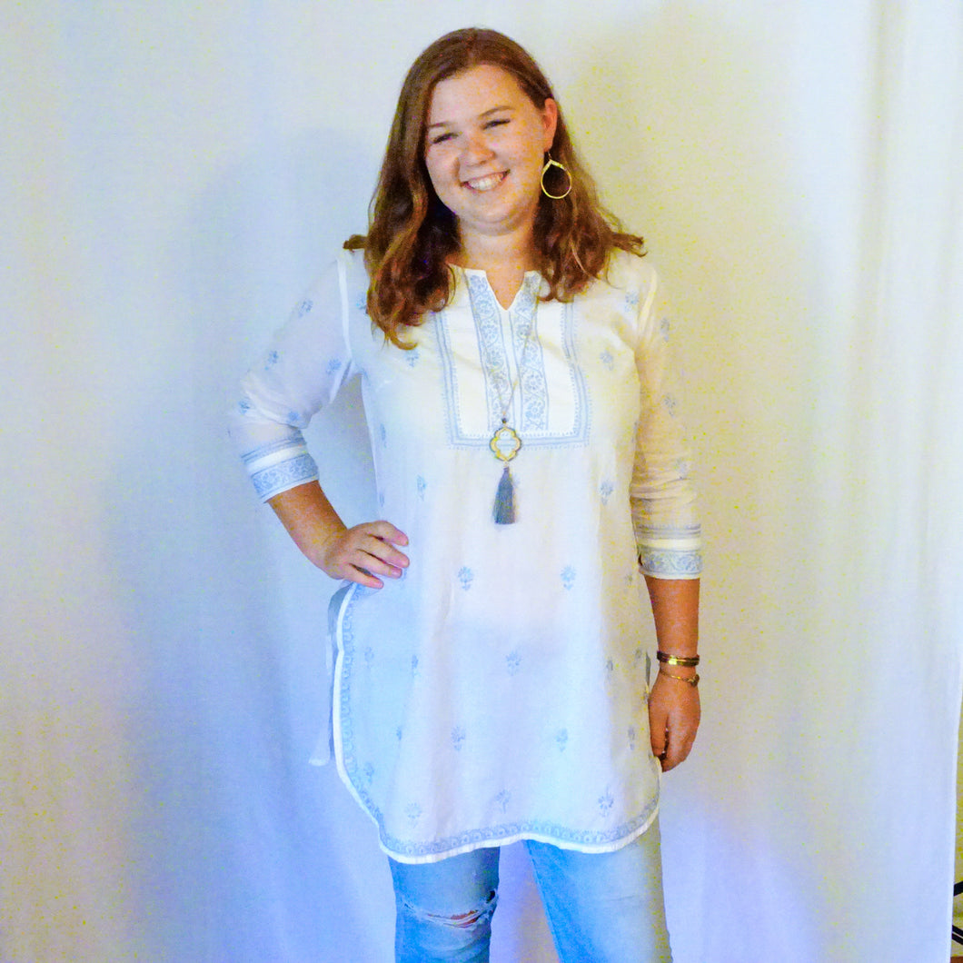 White and Pastel Blue Tunic