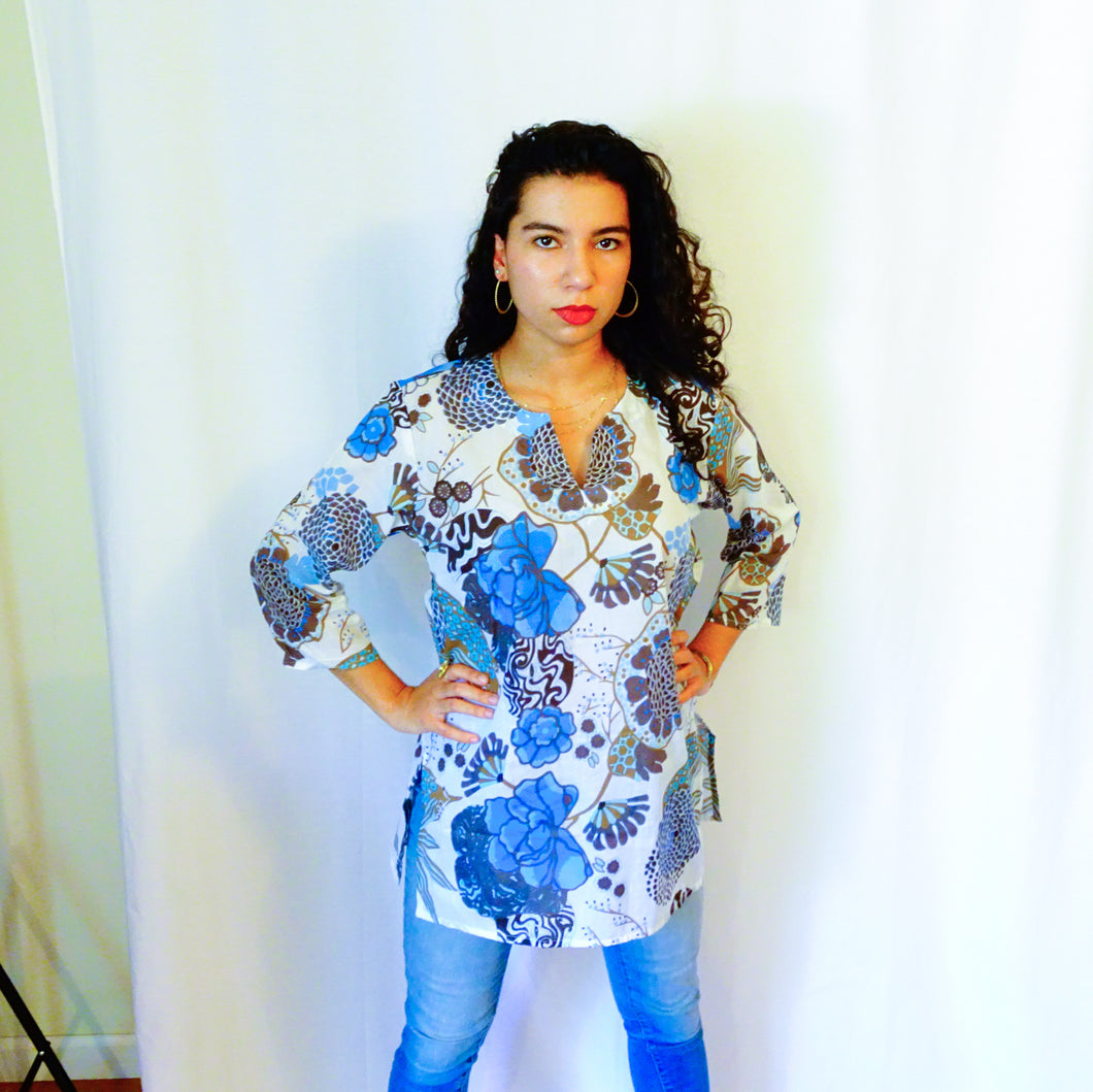 Blue Fun Floral Cotton Tunic