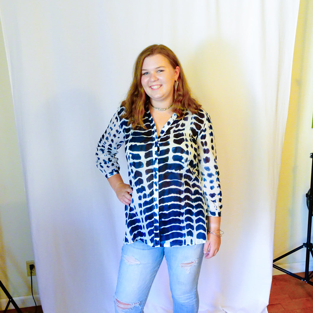 Blue and White Button Up Cotton Tunic