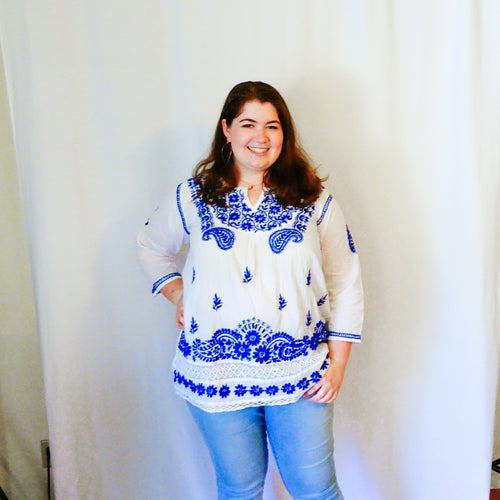 White and Blue Cotton Tunic