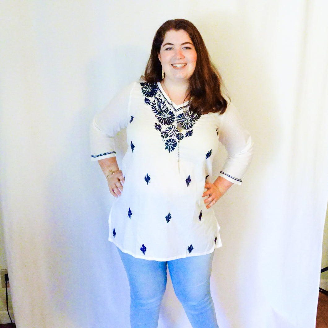 White and Blue Stitched Tunic