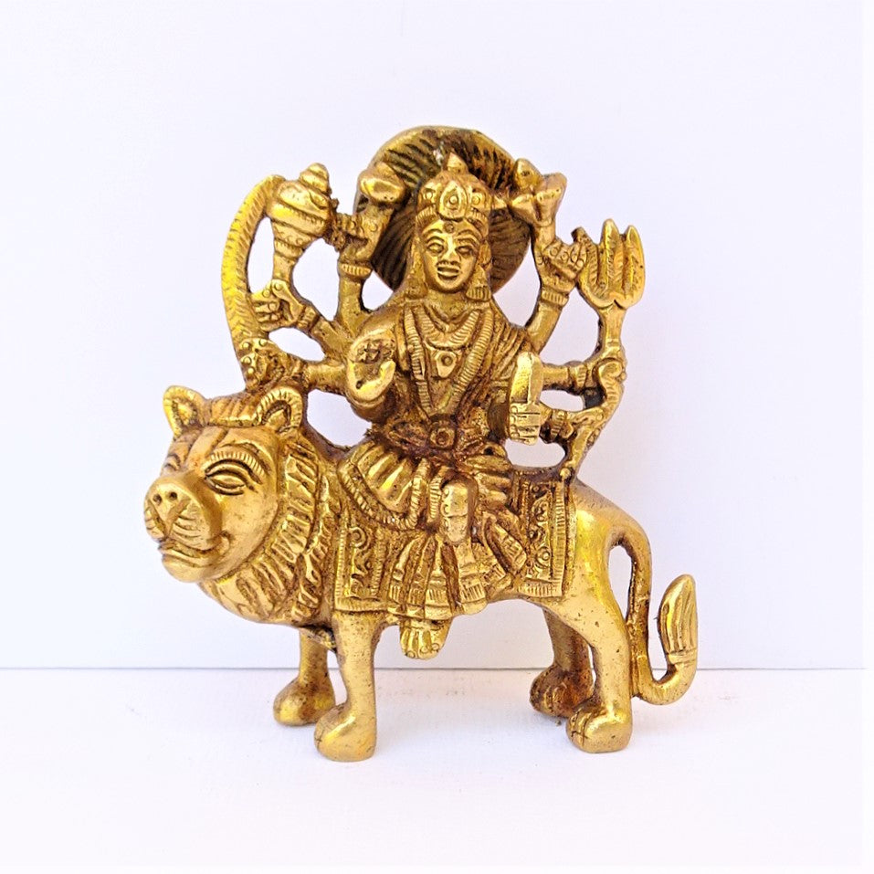 Detailed Durga on Lion - Small
