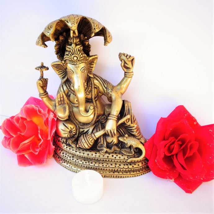 Ganesh Seated on Cobra - Medium