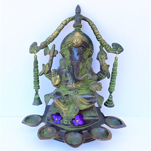 Green Ganesh Lamp - Medium