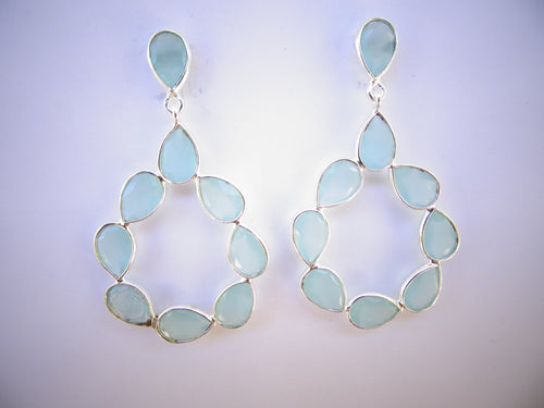 Aqua Chalcedony Wreath Earrings