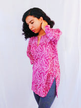 Load image into Gallery viewer, Pink Leaves Cotton Tunic