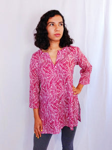 Pink Leaves Cotton Tunic