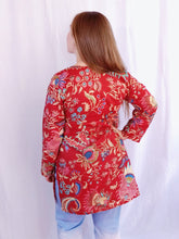 Load image into Gallery viewer, Red Garden Cotton Tunic