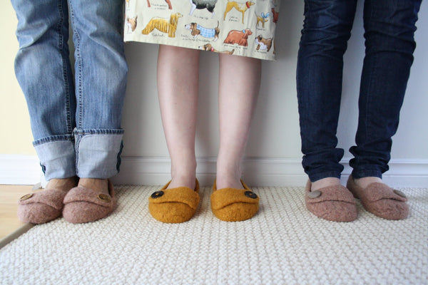 Jane Richmond Blog - French Press Felted Slippers for the girls