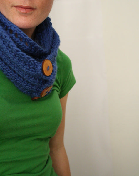 Begbie Cowl with Arbutus Buttons by Jane Richmond