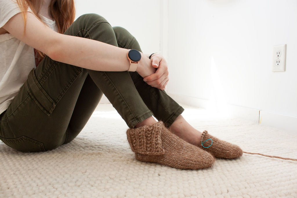 Toba Slippers knitting pattern by Jane Richmond