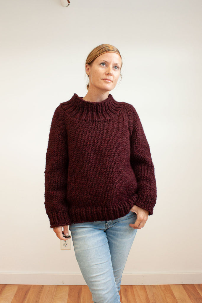 Winston Pullover with Funnel Neck Modification / knitting pattern by Jane Richmond