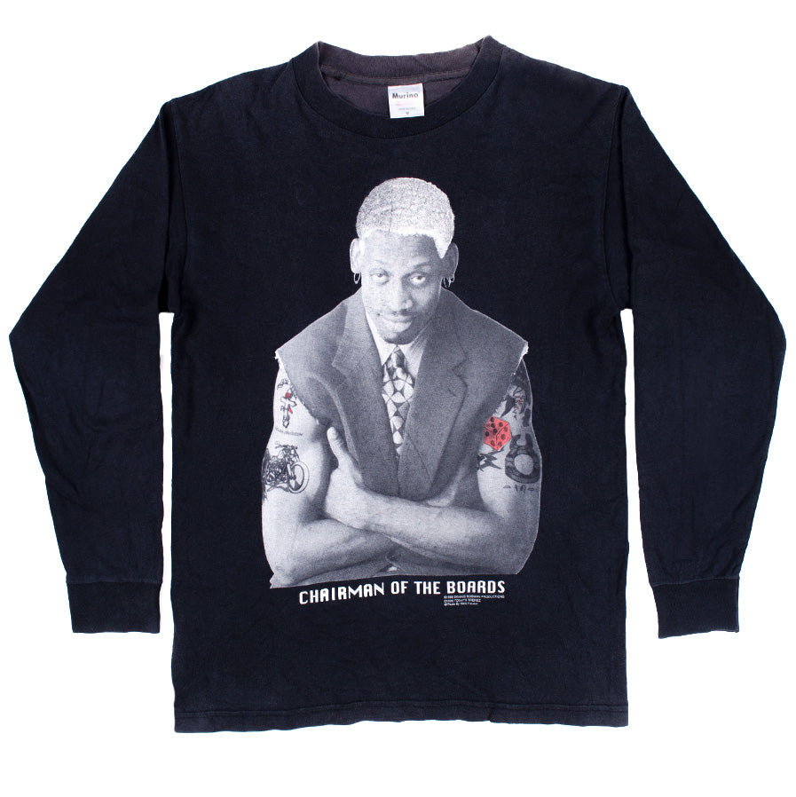 "Vintage Dennis Rodman ""CHAIRMAN OF THE BOARDS"" L/S T-shirt (1996)"