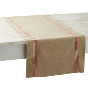VICHY LINEN TABLE RUNNER, ROUGE
