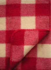 PLAID WOOL THROW IN SAVOIE RED/ECRU