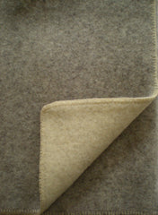 DOUBLE-FACED WOOL THROW IN NATURAL WARM GRAY/ECRU