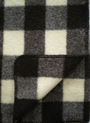 PLAID WOOL THROW IN NATURAL DARK BROWN/ECRU