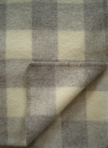 PLAID WOOL THROW IN NATURAL WARM GRAY/ECRU
