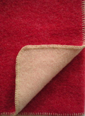 DOUBLE-FACED WOOL THROW IN SAVOIE RED/ECRU