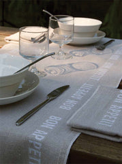 BON APPETIT LINEN TABLE RUNNER, BLANC