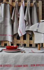 BON APPETIT LINEN TABLE RUNNER, ROUGE