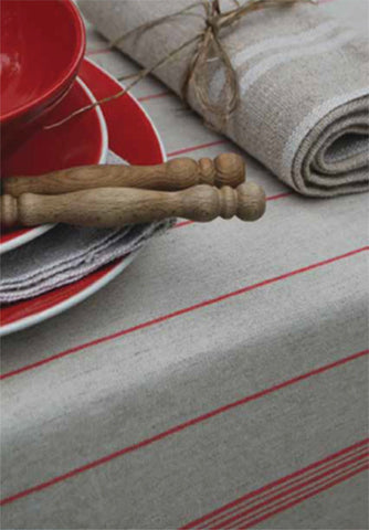 FESTIN LINEN TABLECLOTH, ROUGE, BLEU