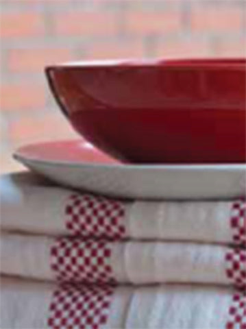 LUSTUCRU LINEN KITCHEN TOWEL, BLANC/ROUGE