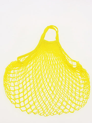 COTTON STRING BAG WITH SHORT HANDLES, JAUNE SOLARIUM