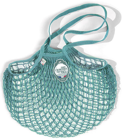 COTTON STRING BAG WITH LONG HANDLES, AQUA BLUE
