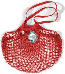 COTTON STRING BAG WITH LONG HANDLES, ROUGE ANEMONE