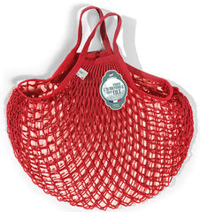 COTTON STRING BAG WITH SHORT HANDLES, ROUGE ANEMONE