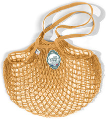 COTTON STRING BAG WITH LONG HANDLES, GOLD