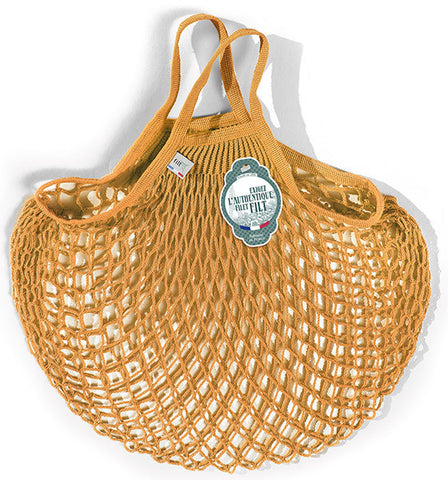 COTTON STRING BAG WITH SHORT HANDLES, GOLD