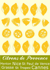 MOUTET CITRON KITCHEN TOWEL, JAUNE/BLANC