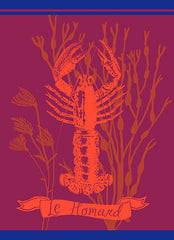 MOUTET LE HOMARD KITCHEN TOWEL, ROUGE/ORANGE