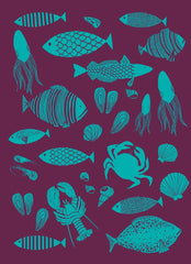 MOUTET PECHE KITCHEN TOWEL, AUBERGINE/TURQUOISE
