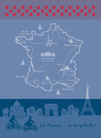 MOUTET LA FRANCE A BICYCLETTE KITCHEN TOWEL