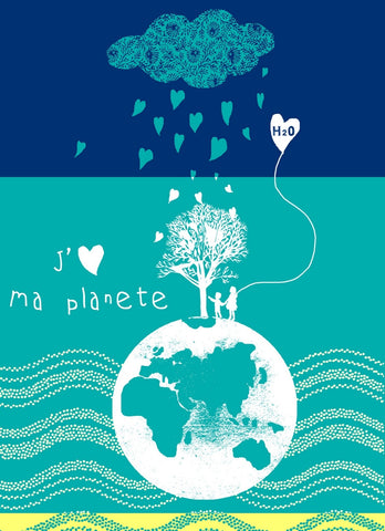 MOUTET J'AIME MA PLANETE KITCHEN TOWEL, TURQUOISE