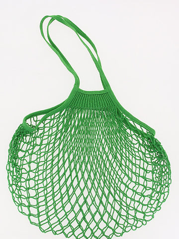 COTTON STRING BAG WITH LONG HANDLES, VERT LAITUE