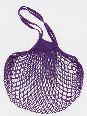 COTTON STRING BAG WITH LONG HANDLES, VIOLET PRUNE