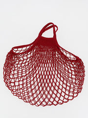 COTTON STRING BAG WITH SHORT HANDLES, ROUGE
