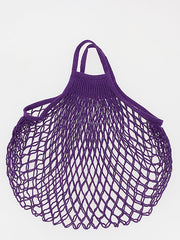 COTTON STRING BAG WITH SHORT HANDLES, VIOLET PRUNE