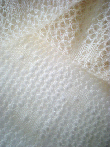 MOHAIR AND SILK SHAWL, ECRU