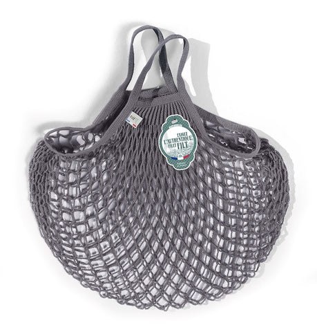 COTTON STRING BAG WITH SHORT HANDLES, GRIS LEAD