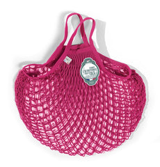 COTTON STRING BAG WITH SHORT HANDLES, RASBERRY
