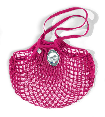 COTTON STRING BAG WITH LONG HANDLES, RASBERRY