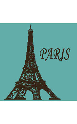 LOVE PARIS COTTON TERRY HAND TOWEL, TURQUOISE